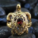 Size 9 18kt Gold and garnet Turtle Ring GPR-165