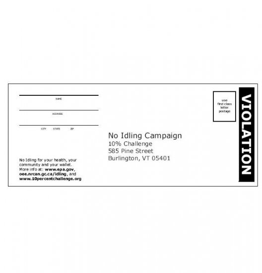 No idling brochure ('ticket' style)