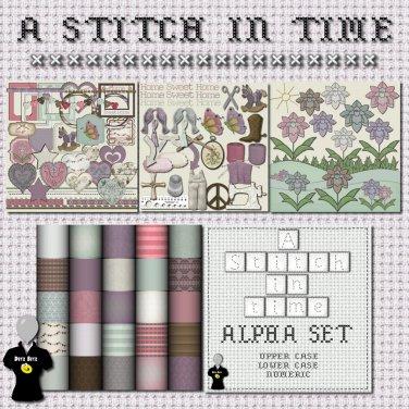 A Stitch in Time Digital Scrapbook Kit