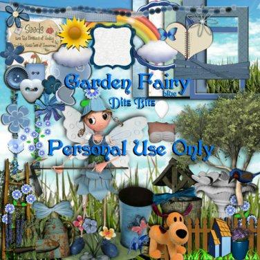Garden Fairy Blue Digital Scrapbook Kit