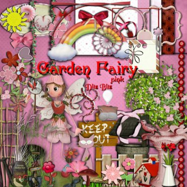 Garden Fairy Pink Digital Scrapbook Kit
