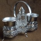 Fine chrome plated 2-eggcup cruet stand with glass salt pot