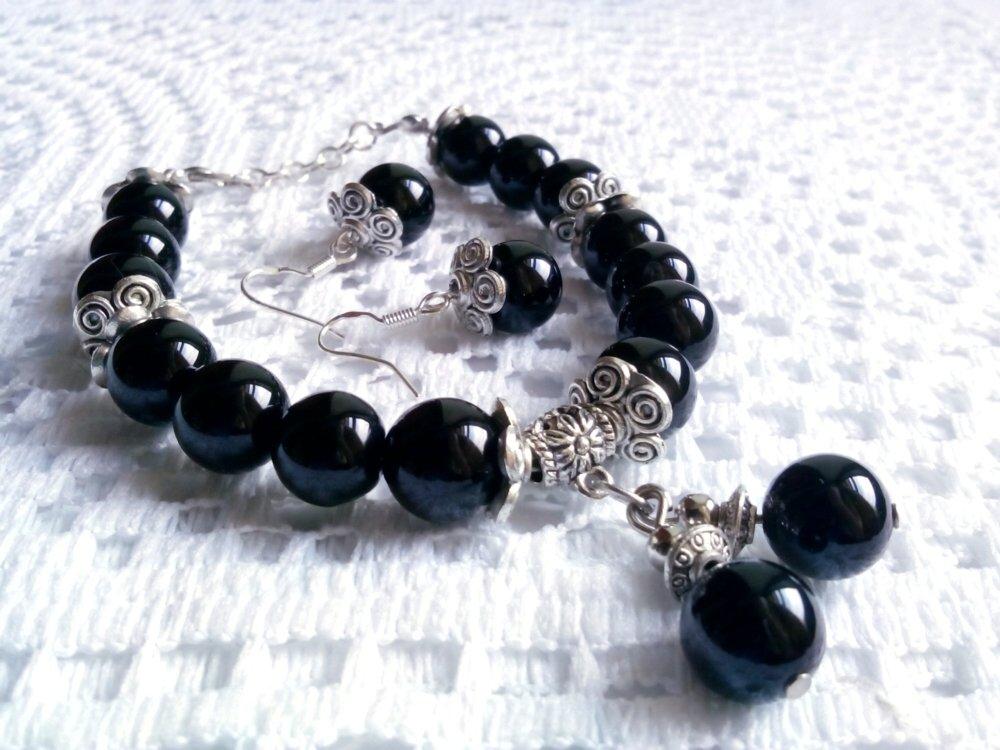 Handmade black agate bracelet and earrings silver plated spacers 21 cm