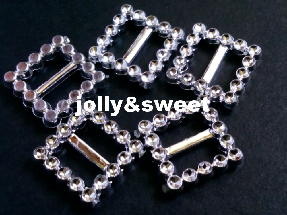 20 pieces Square Ribbon Slider Buckle Silver Color Approximately 20mm