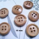 "50 pcs Wood Button 15mm 3/5"" 4 holes Sewing scrap booking DIY Craft embellishment"
