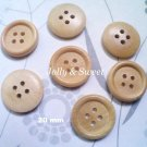"30 pcs Wood Button 20mm 4/5"" 4 holes Sewing scrap booking DIY Craft embellishment"