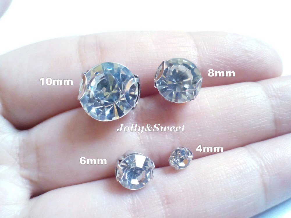 sew on rhinestones clear glass crystals 20 pcs beads 8mm 2D claws diamante faceted embellishment