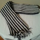 Homemade 5' Black, Silver & White Acrylic Scarf
