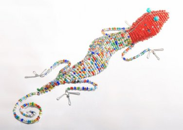 Red & Multi-Colored African Lizard Bead and Wire Sculpture - FREE SHIPPING!