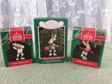 Vintage Hallmark Keepsake Ornaments Reindeer Champs Prancer, Comet, and Cupid