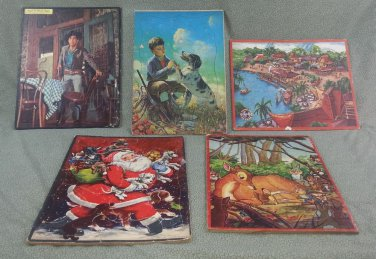 """5 Vintage 14"""" Puzzle Collection - Whitman, Bambie, A Cucchi & Jaymar Specialty"""