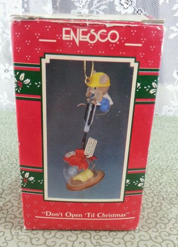 """1990 Enesco """"Don't Open 'Til Christmas"""" Ornament"""