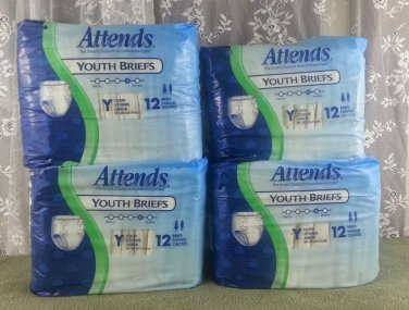 "Attends Youth Briefs 20""-28"" (51-71cm) - 48 Briefs (4 Packages)!"
