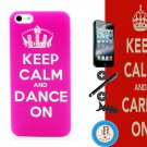 iTrust Pink Keep Calm and Dance On Design Hard Case Cover For iPhone 5 5G 5S + Free Gift (A034)