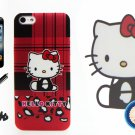 iTrust Hello Kitty Red Strip Design Hard Case Cover For iPhone 5 5G 5S + Free Gift (C009)