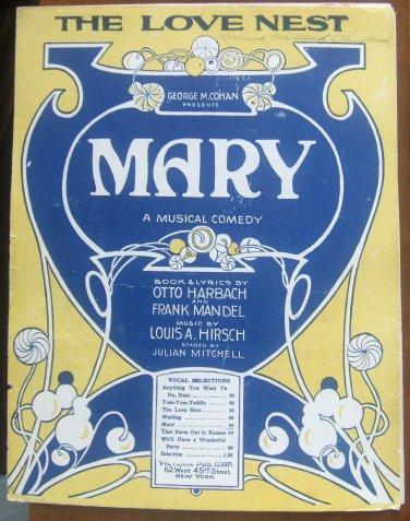 Sheet Music: The Love Nest from MARY musical comedy Louis Hirsch 1920