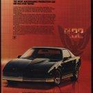 1984 Black PONTIAC FIREBIRD Trans Am Sports Car VINTAGE AD