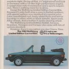 1984 VINTAGE MAGAZINE Print ADVERTISEMENT for the VOLKSWAGEN WOLFSBURG Limited Edition