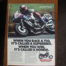 1985 Honda 750 Motorcycle Color Magazine Ad. Superbike!