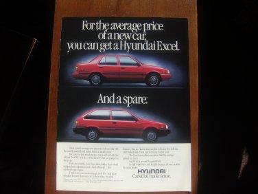 1987 Hyundai Excel - Spare - Classic Vintage Advertisement Ad