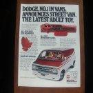1978 DODGE STREET VAN NUMBER 1 IN VANS DODGE MAGAZINE AD