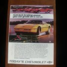 1986 Chevrolet Corvette - yellow - Classic Vintage Advertisement A