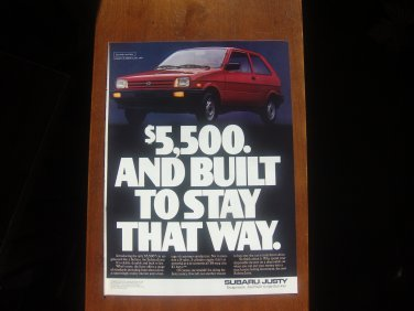 1987 Subaru Justy - 5500 red - Classic Car Advertisement Print Ad