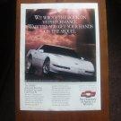 CHEVROLET CORVETTE LT1 . ORIGINAL MAGAZINE ADVERTISEMENT 1991.