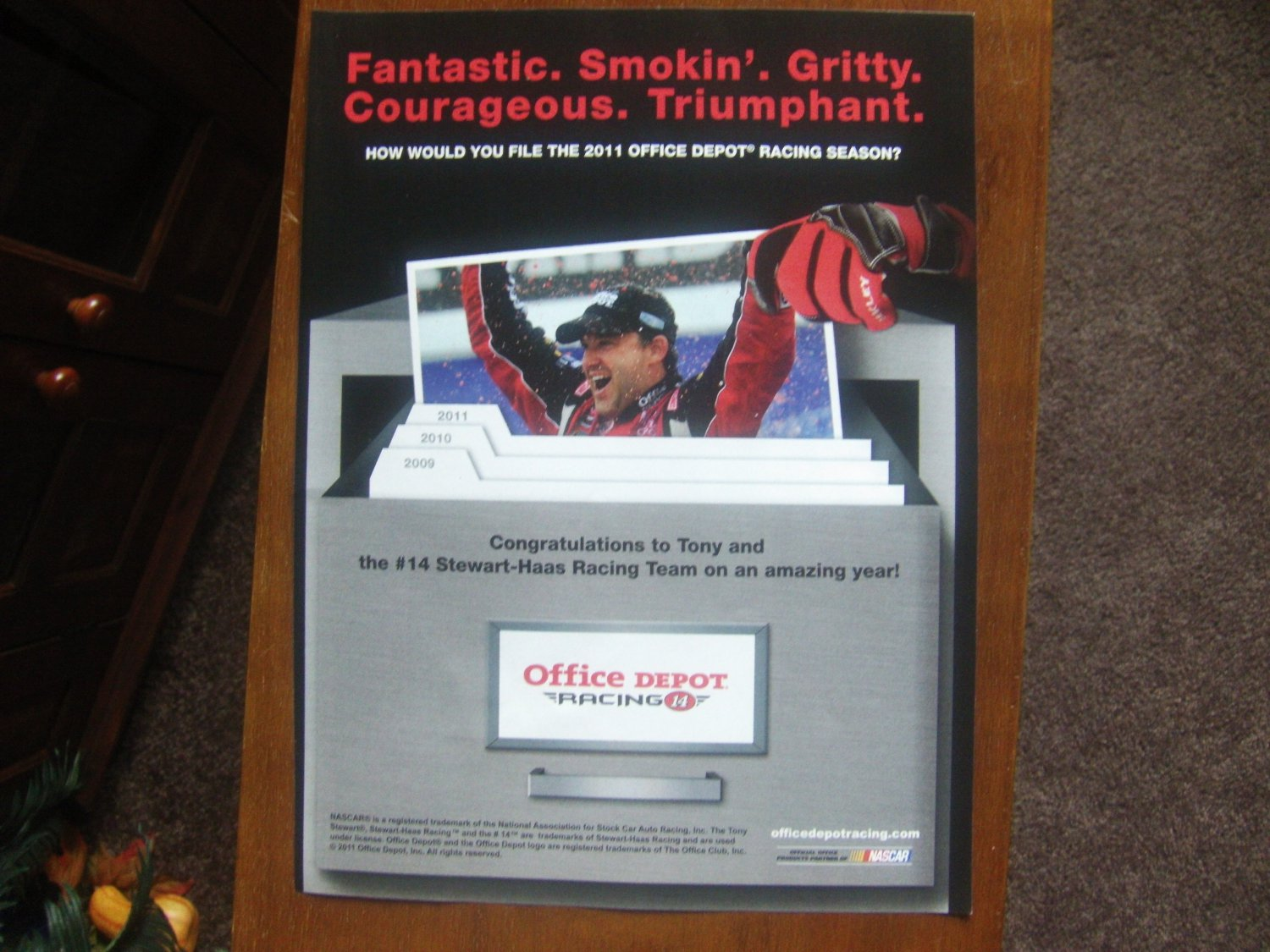 Office depot racing magazine print advertising for Office depot shirt printing