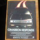Cadillac Cimarron Responds Vintage Magazine Advertisement