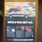 1982 Pontiac Phoenix SJ HO Vintage Advertisement Ad