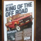 Vintage 1982 DATSUN KING CAB 4 x 4 PICK UP MOTOR CAR Advertisement