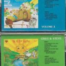 GREG & STEVE WE ALL LIVE TOGETHER VOL #3 & #4 childrens cassette lot