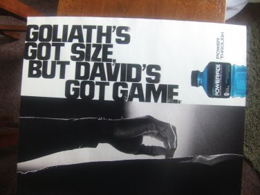 Powerade Magazine Advertisement-Goliath's Got Size, But David's Got Game.
