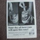 1962 Schlitz Beer Ad New Aluminum Softop Can Open Easy