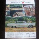 "1967 Plymouth Sport Fury Vintage Magazine Ad ""We named this one sport fury..."""