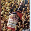 1980 HIRAM WALKER AMARETTO LIQUORE Magazine/Print Ad~Bottle & Almonds~Vintage Ad