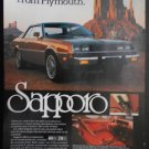 1982 PLYMOUTH SAPPORO ORIGINAL COLOR MAGAZINE ADVERTISEMENT