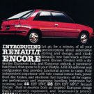 1984 RENAULT ENCORE advertisement, AMC, Renault hatchback sports car