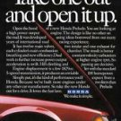 "1983 Honda Prelude ""Take one out and open it up"" Raised Hood Car Ad"