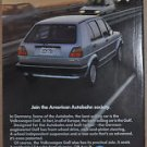 1987 VOLKSWAGEN GOLF advertisement, VW Golf GL, American Autobahn