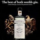 1968 White Satin London Dry GIN Vintage Bottle PRINT AD