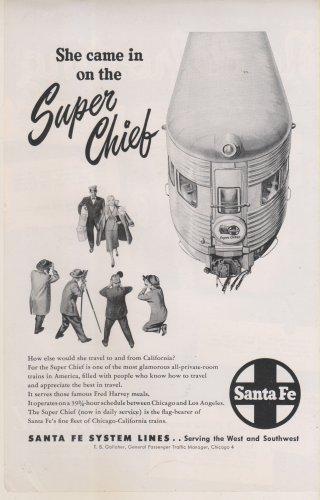 Santa Fe Railroad Black & White Magazine Ad. Super Chief