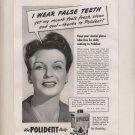 Vintage Magazine Print Ad 1948 Polident - False Teeth -- Denture Cleanser