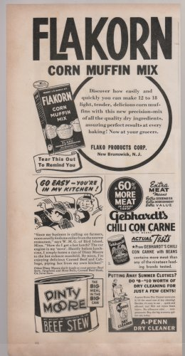 Flakorn Corn Muffin Mix, Print Ad. B&W Illustration  Original Vintage