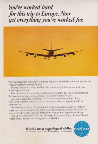 1964 Pan Am Airlines Print Ad / Worlds Most Experienced Airline