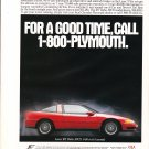 1992 Plymouth Laser Original Print Ad-For A Good Time Call 1800 Plymouth