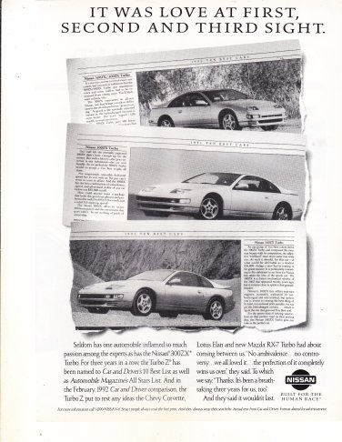 1992 Nissan 300ZX Turbo Sports Car Love At 1st 2nd 3rd Sight Print Ad