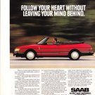 """Follow your heart without leaving your mind behind"" Saab Magazine ad"