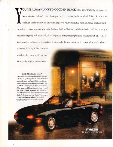 "1992 Mazda Miata Convertible photo ""Looks Good in Black"" magazine print ad"